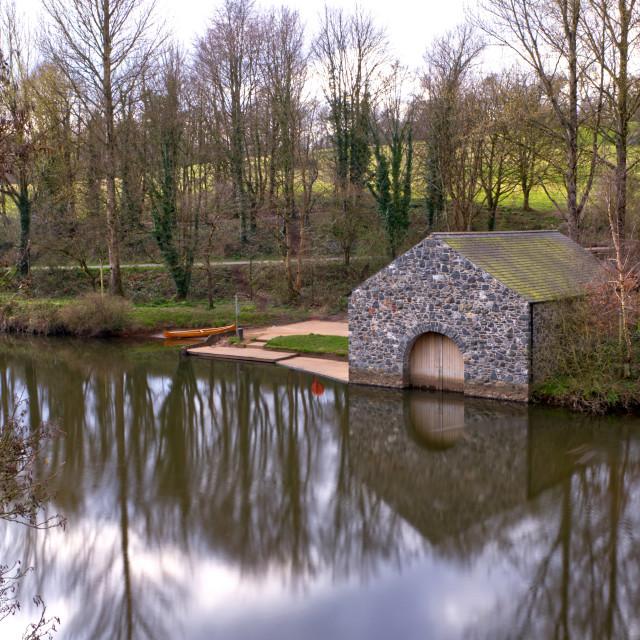 """""""Boathouse at Shaws Bridge"""" stock image"""