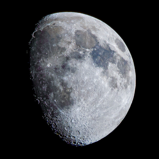 """""""Waxing Gibbous Moon, 76% visible."""" stock image"""