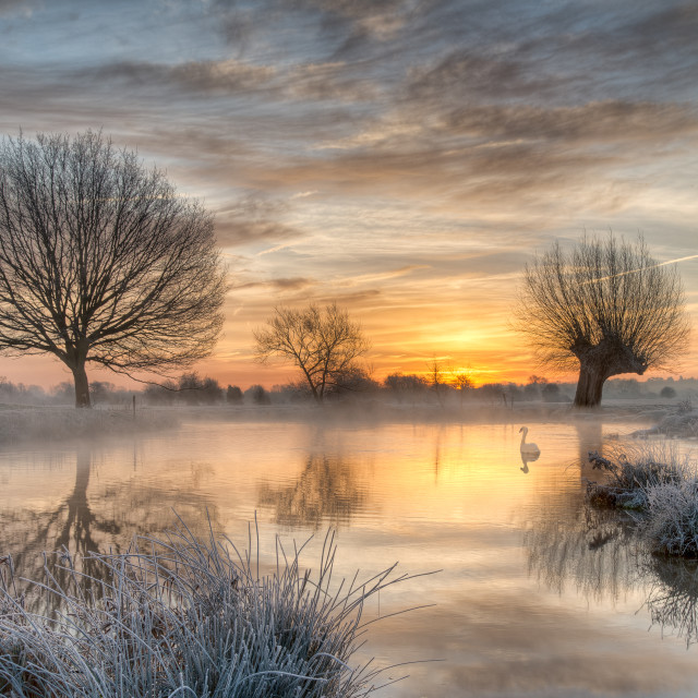 """""""Mist and Frost on the Stour"""" stock image"""