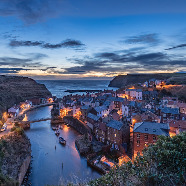 """""""The Blue Hour, Staithes, North Yorkshire"""" stock image"""