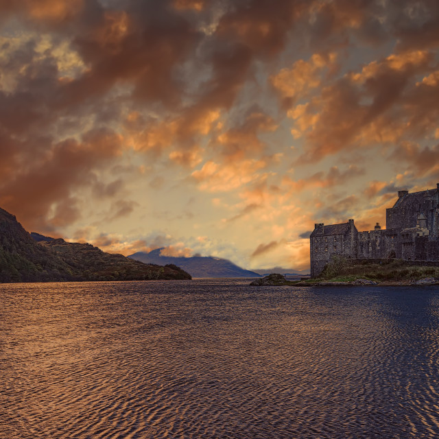 """Sunset over Eilean Donan Castle, Scotland"" stock image"