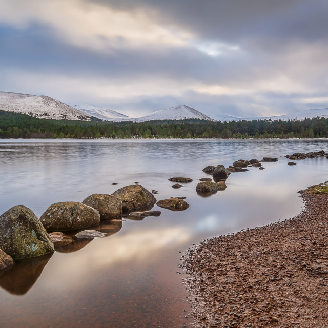 """""""Loch Morlich and the Cairngorms"""" stock image"""