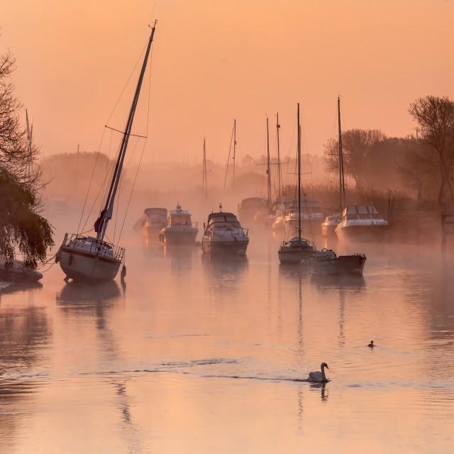 """Golden Sunrise at Wareham Quay"" stock image"