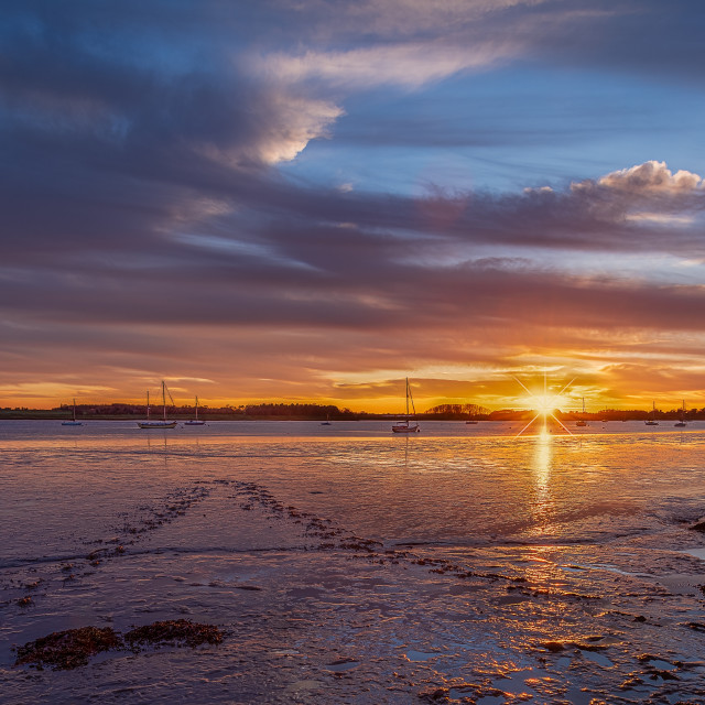 """""""Sunset on the River Deben"""" stock image"""
