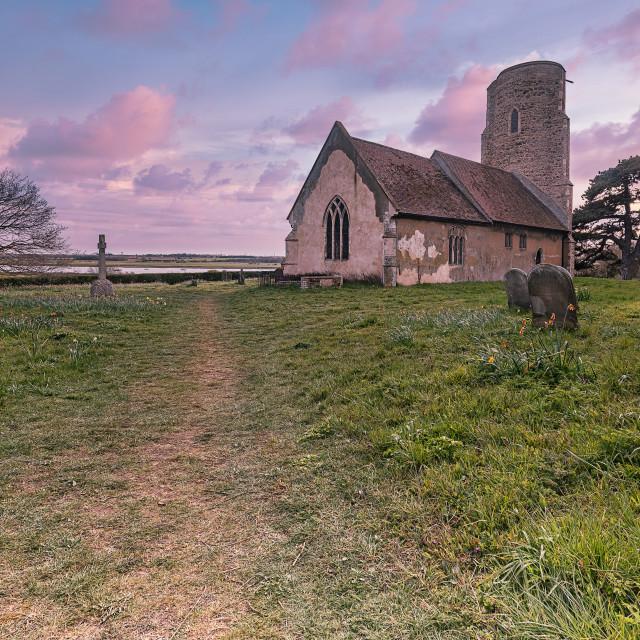 """Ramsholt Church at Sunset"" stock image"