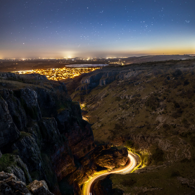 """Cheddar Gorge River of Light"" stock image"