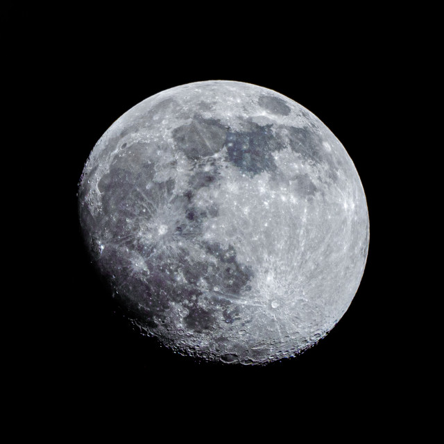 """""""Waxing Gibbous Moon, 92% visible."""" stock image"""