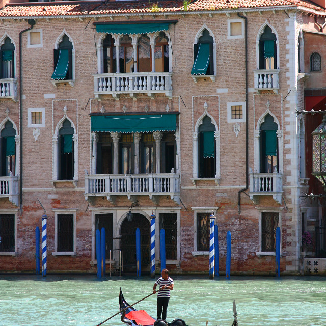 """Venice, The Lone Gondolier"" stock image"