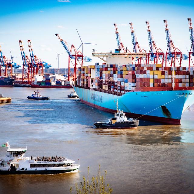 """""""Containerschiff Elly Maersk auf der Elbe"""" stock image"""
