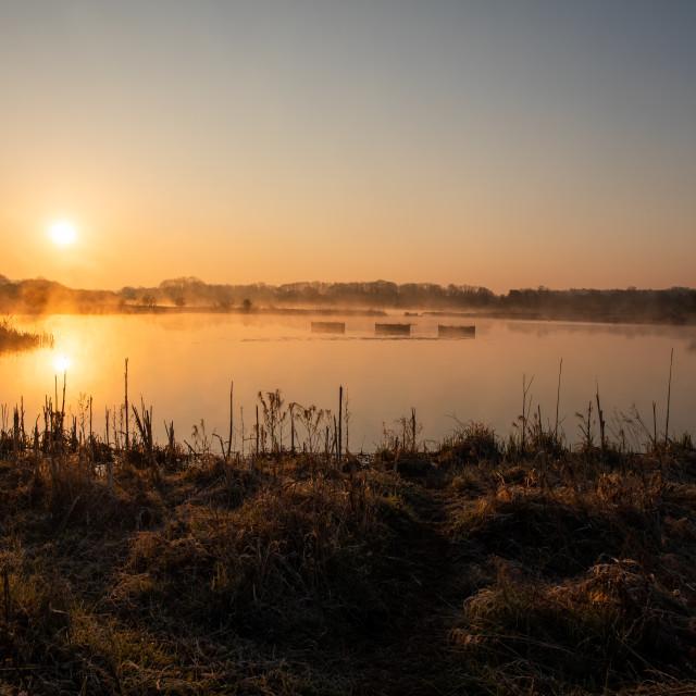 """""""Sunrise Over Staveley"""" stock image"""