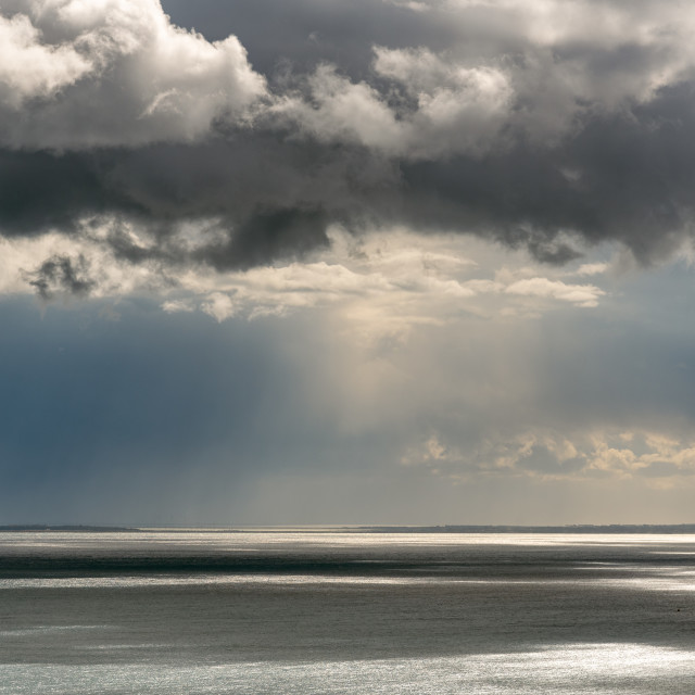 """""""Stormy sky with dramatic clouds and sea. Stormy weather at the ocean"""" stock image"""