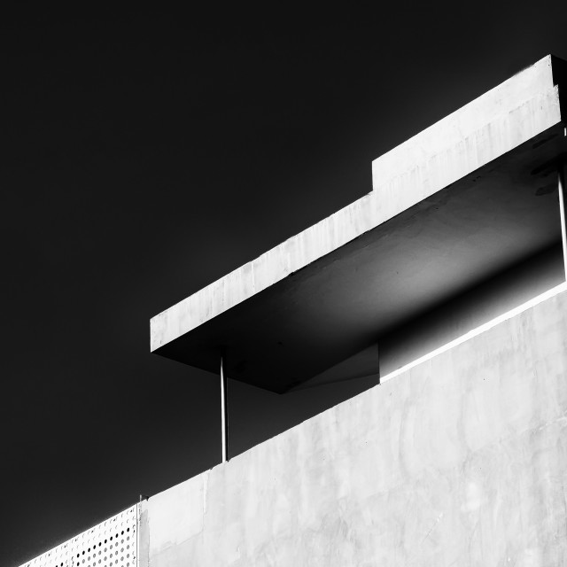 """""""Abstract architecture design. Black and white futuristic exterior background. Black sky copy-space"""" stock image"""