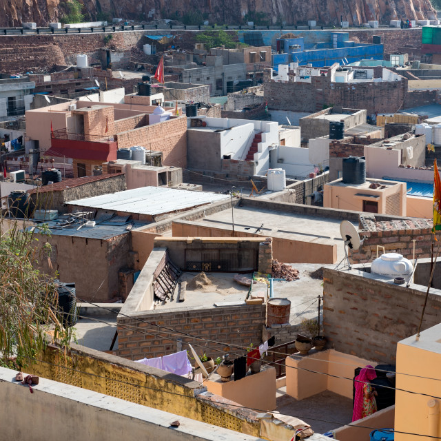"""""""Neighbourhood of the city of Jodhpur the blue city in Rajasthan in India"""" stock image"""
