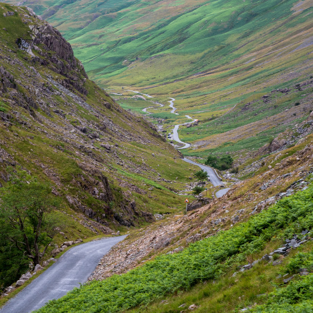 """""""Honister Pass in the Lake District, is a mountain pass joining Borrowdale to the Buttermere valley in England."""" stock image"""