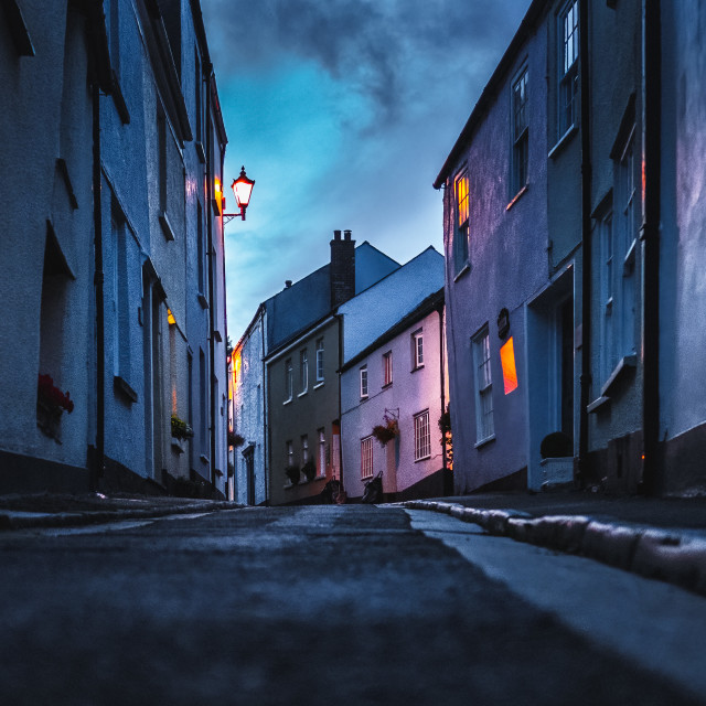 """""""Blue hour from Armada Road, Cawsand, Cornwall UK."""" stock image"""