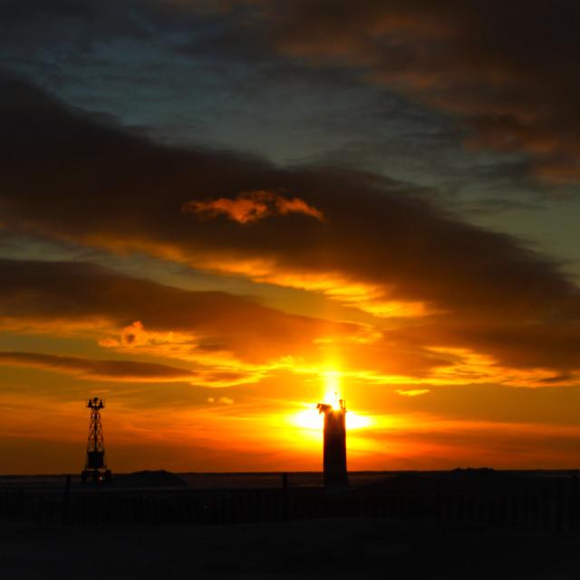 """Pier Light, Sun Pillar"" stock image"