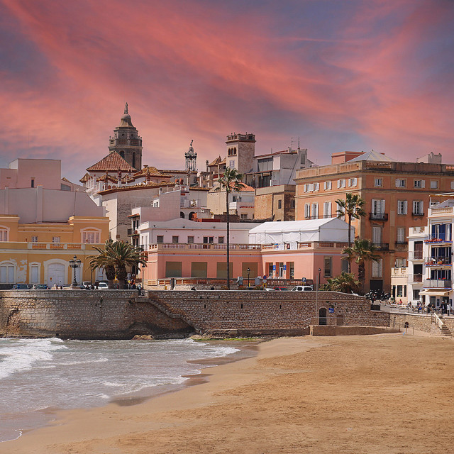 """""""Sitges old town, Catalonia, at sunset"""" stock image"""