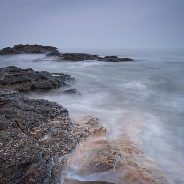 """Swell of the metallic North Sea at Cornelian Bay"" stock image"