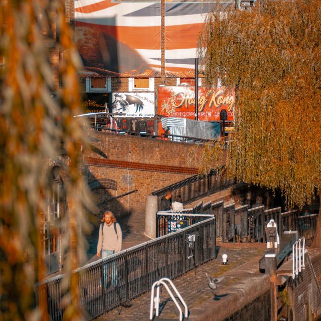 """Camden Lock on Regent's Canal, Camden Town"" stock image"