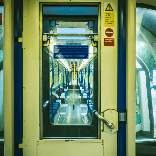 """""""A connection door to the next Tube carriage"""" stock image"""