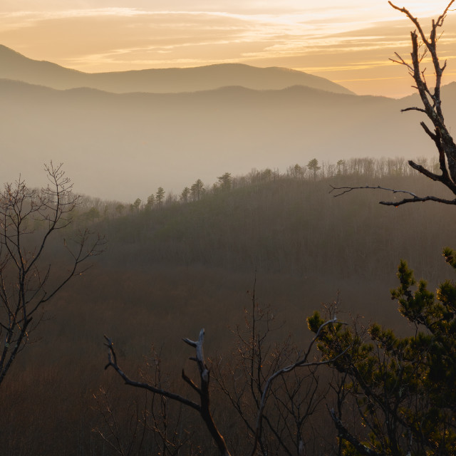"""""""foggy sunset over the great smoky mountains national park"""" stock image"""