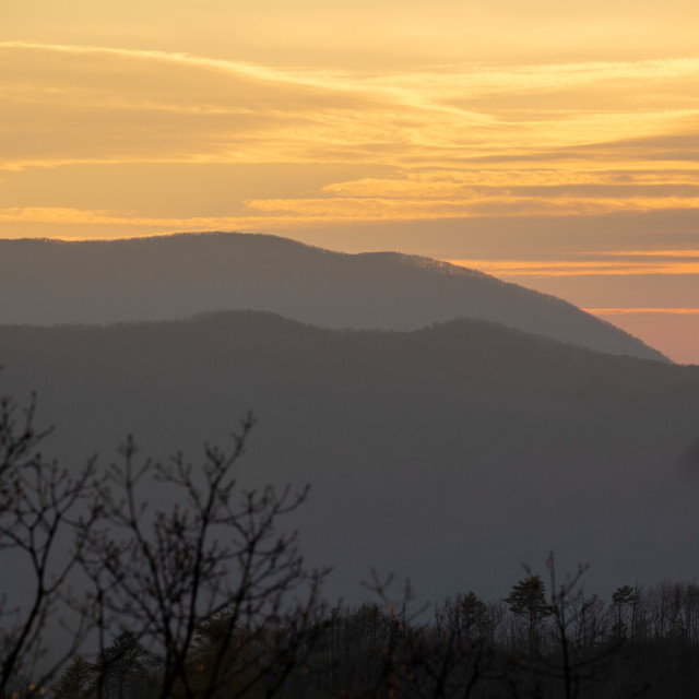 """""""dramatic sunset over the great smoky mountain national park from"""" stock image"""