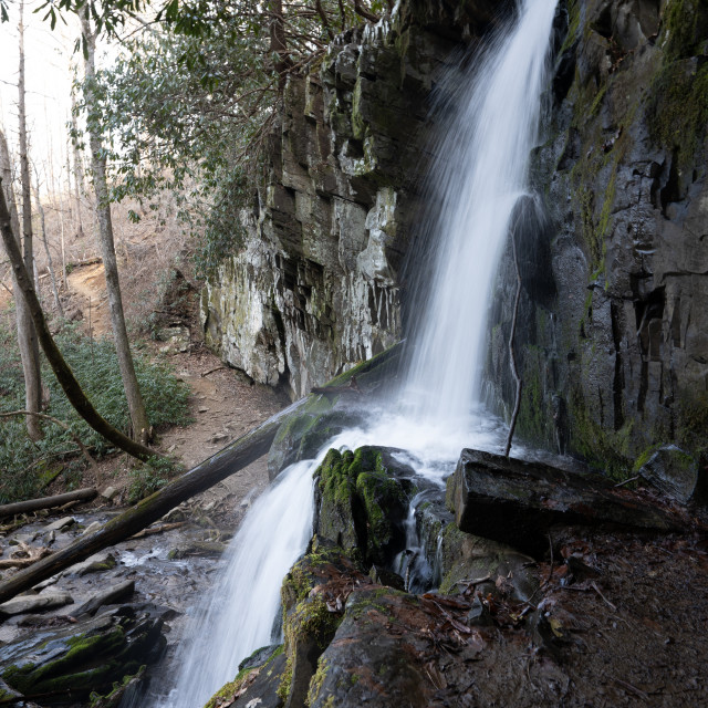 """""""baskins creek waterfall and the trail leading into the bowl of t"""" stock image"""