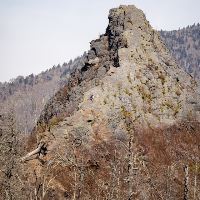 """""""chimney tops with two people climbing the side of it"""" stock image"""