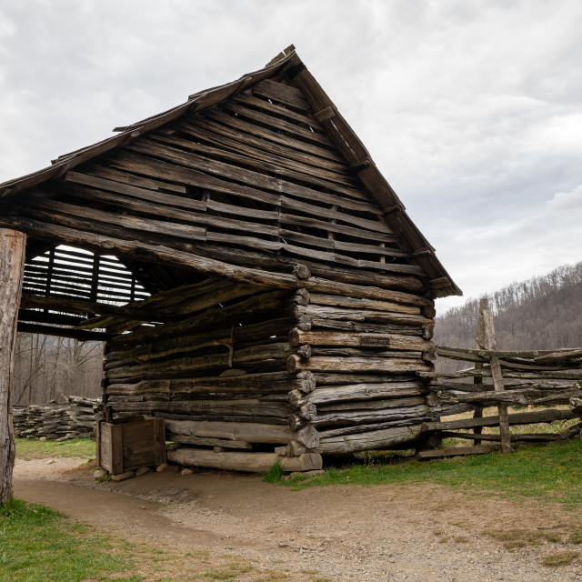 """""""old log stable house in the national park"""" stock image"""
