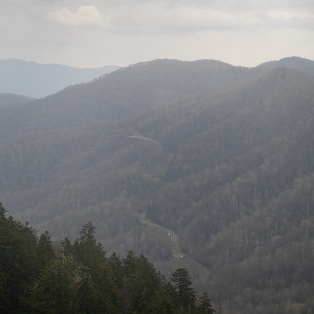 """""""highway 441 winding through the great smoky mountain national park"""" stock image"""