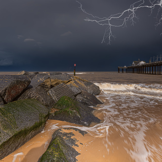"""Lightning Strike Over Southwold Pier"" stock image"