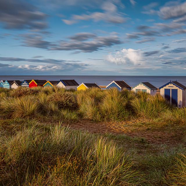 """Southwold Beach Huts at Sunset"" stock image"