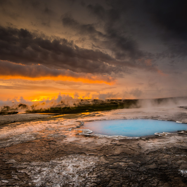 """""""Hot pools and springs at sunset"""" stock image"""