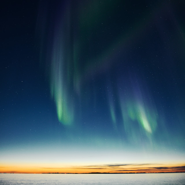 """""""northern lights and sunset"""" stock image"""