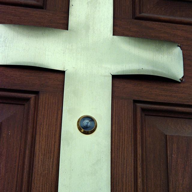 """Church peep hole"" stock image"