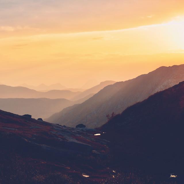 """""""Sunset in Autumn mountains"""" stock image"""