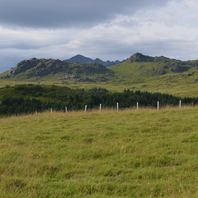 """Lofoten landscape with fence"" stock image"