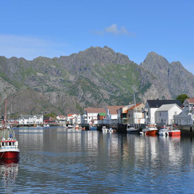 """fishing boats in Lofoten"" stock image"