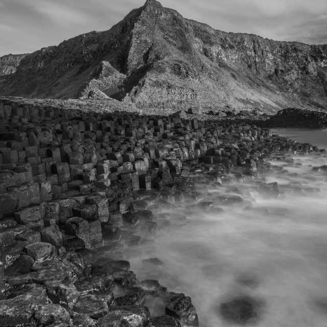"""""""Giants Causeway Black and White"""" stock image"""
