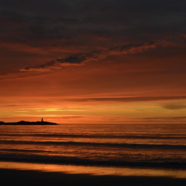"""Epic sunset in Lofoten over lighthouse!"" stock image"