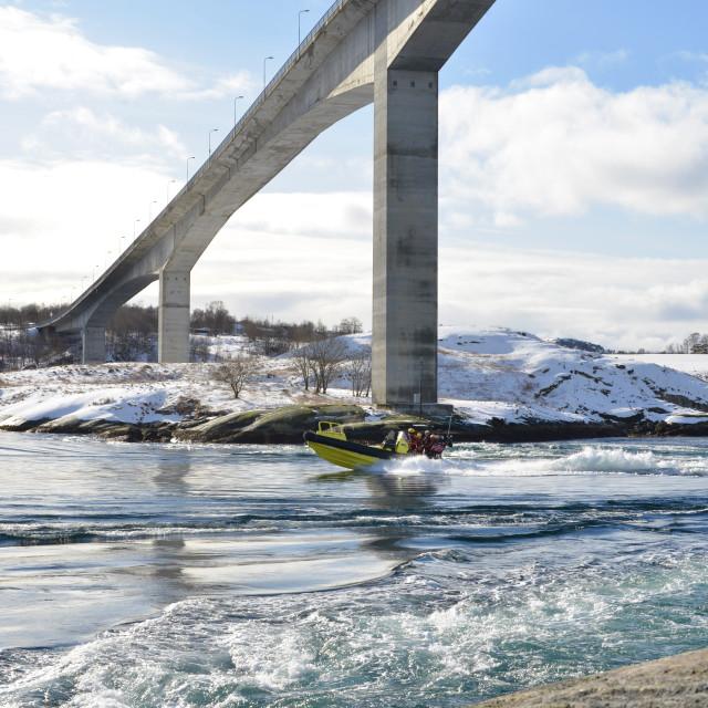 """Boats in Saltstraumen"" stock image"