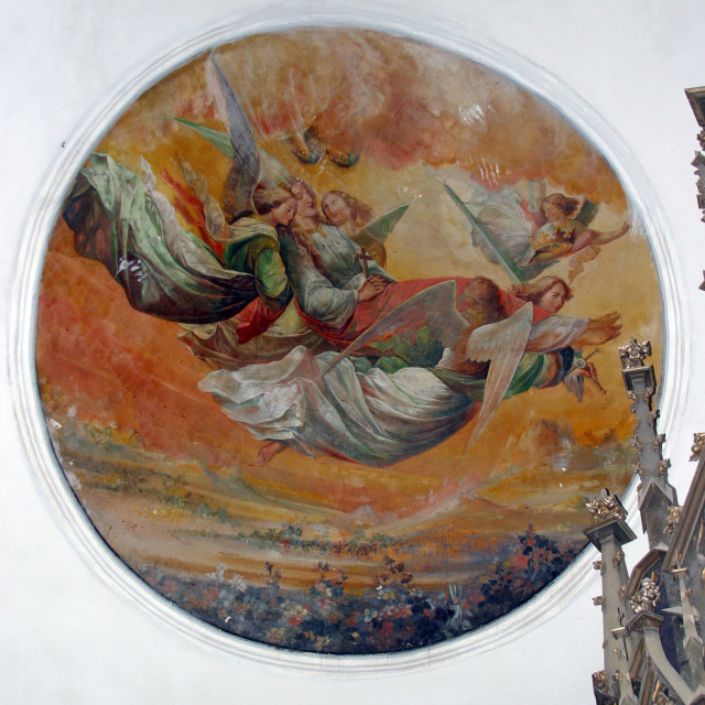 """""""Saint Catherine Carried up to Heaven by Angels, fresco in the parish church of St. Catherine of Alexandria in Dapci, Croatia"""" stock image"""