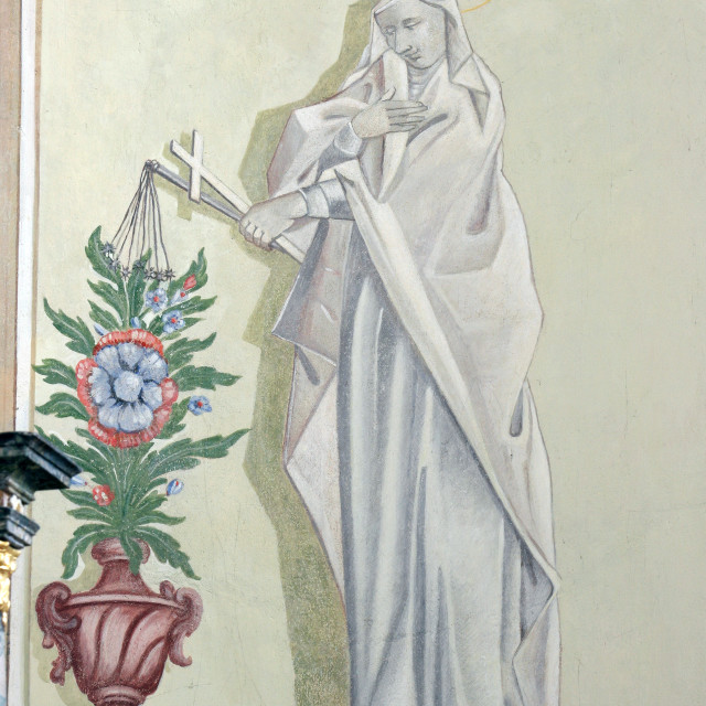 """Saint Dorothy of Caesarea, fresco in the parish church of St. Mary Magdalene in Sela kod Siska Croatia"" stock image"