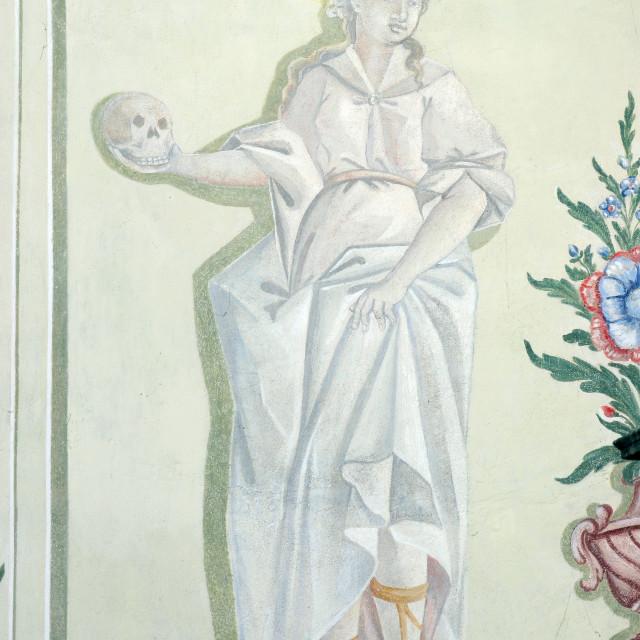 """Saint Rosalia, fresco in the parish church of St. Mary Magdalene in Sela kod Siska, Croatia"" stock image"