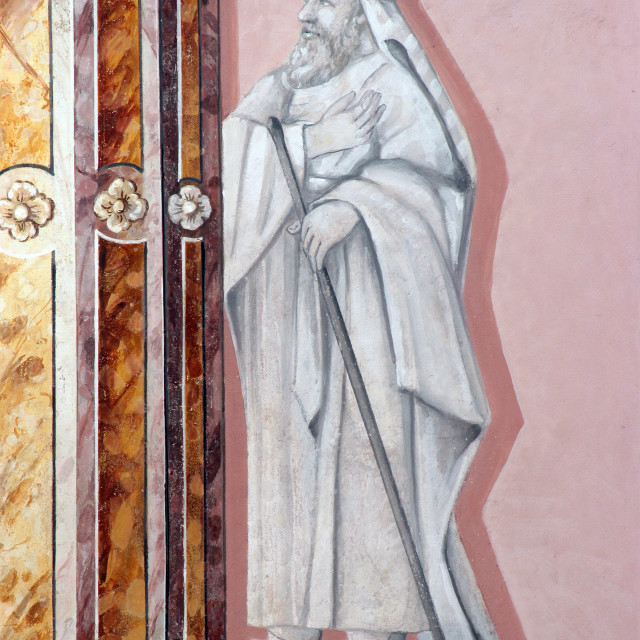 """Saint, fresco in the parish church of St. Mary Magdalene in Sela kod Siska, Croatia"" stock image"