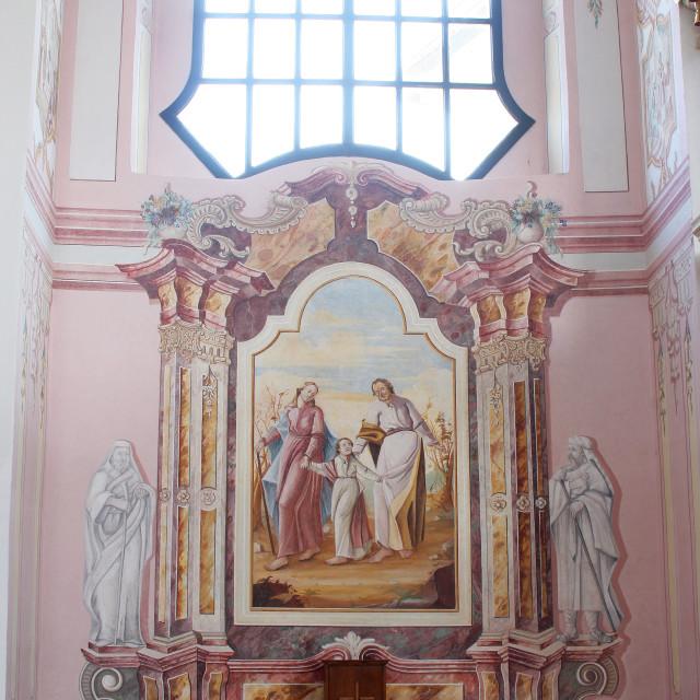 """Holy Family, altar in the parish church of St. Mary Magdalene in Sela kod Siska, Croatia"" stock image"