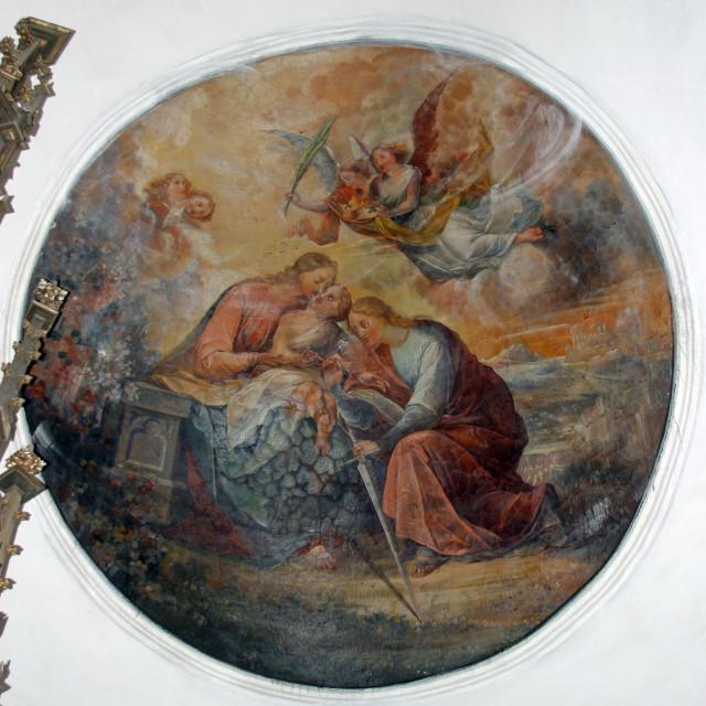 """The Mystic Marriage of Saint Catherine, fresco in the parish church of St. Catherine of Alexandria in Dapci, Croatia"" stock image"