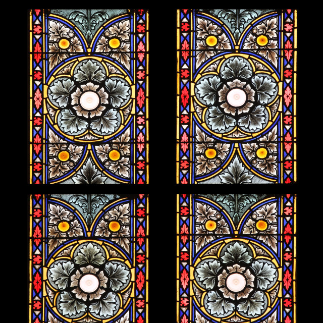 """""""Stained glass in Zagreb cathedral"""" stock image"""