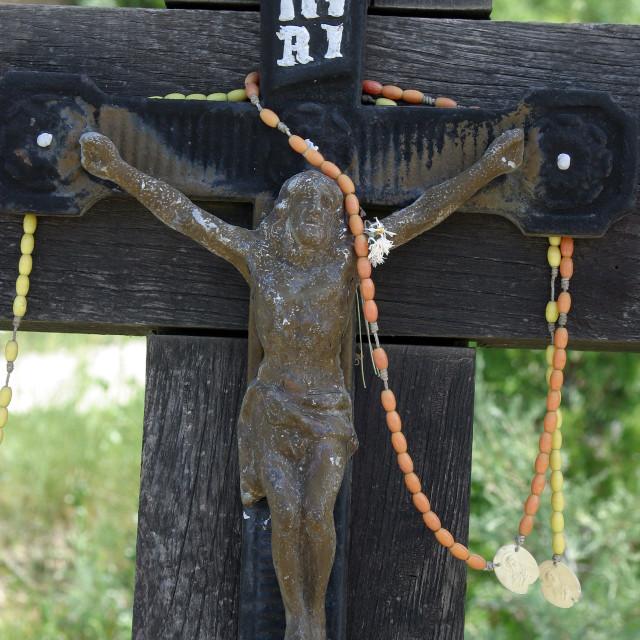 """Roadside Crucifix in Zagorje region, Croatia"" stock image"