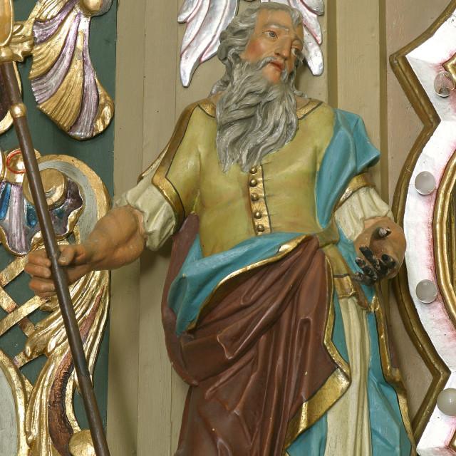 """Statue of the Saint on the altar of Our Lady of Sorrows in the parish church of St. Peter in Sveti Petaaaaaaaar Mreznicki, Croatia"" stock image"